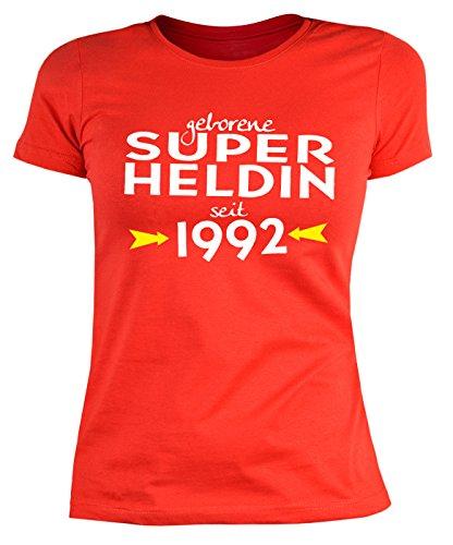 25 Geburtstag Damen Tshirt - Frauen 25 Jahre T-Shirt : geborene Super Heldin seit 1992 -- Geburtstagsshirt 25 Damenshirt Rot