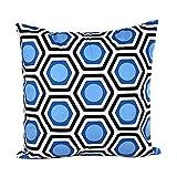 Internet Géométrique Modèle canapé lit Home Café Decor taie d'Oreiller Carré Housse de Coussin Tissu de Coton Invisible Fermeture à glissière 45cm*45cm (Bleu)