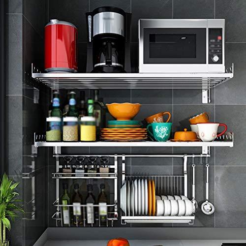 Kitchen Furniture - Küchen-Mikrowellenherd-Regal-Haushaltswand-Edelstahlablage-Regal WXP (größe : 80X35X14CM)