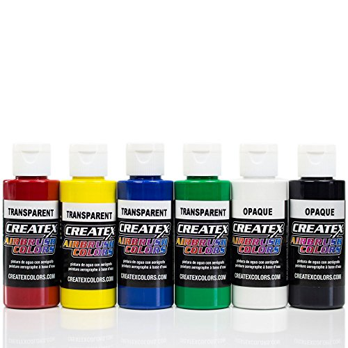 Airbrush Farben 6x 60 ml Createx Transparent Basis Grundfarben Set Airbrushfarben (Acryl-latex-farbe)