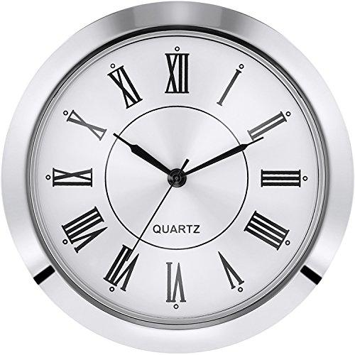 2-1/8 Zoll (55 mm) Quarz Uhr, Einbau/Einsatz, Fit Durchmesser 50 mm (1,97 Zoll) Loch, Zinklegierungs Metallgehäuse, Römische Zahl, Silber