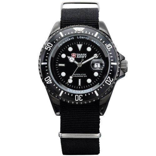 Shark army saw015-orologio da polso uomo,nylon,datario,militare analogico sportivo quarzo,colore:nero