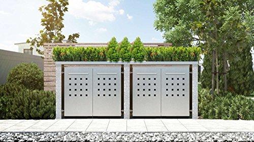 Mülltonnenbox Pflanzdach 4x4 Design Edelstahl 120 Liter 4 Mülltonnen
