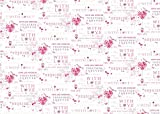 2 Sheets Wedding Day Wrapping Paper & 1 Matching Gift Tag Pink Floral Heart and Bird