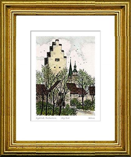 Handkolorierte original Radierung Ingolstadt, Taschenturm im Rahmen Gold hinter Passepartout, Graphik, kein Kunstdruck, kein Leinwandbild