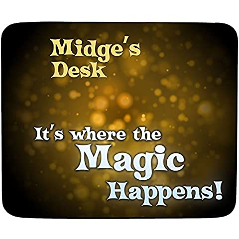 Midge's Desk - It's Where the Magic Happens - Personalised Name Mouse Mat - Premium (5mm Thick)