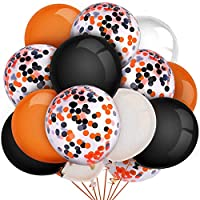 CICADAS 70 PCS Halloween balloon Orange Black White and Confetti balloon,12 inch for Party Decoration,Birthday
