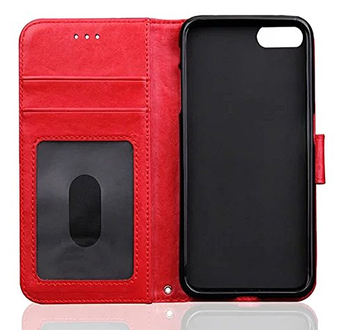 Nnopbeclik Leder Apple Iphone 6 / 6S Hülle Flip Etui Echt, PU Leather Weich Case Handytasche Stitching Muster Bookstyle Schutz Etui Schale mit Bild Slot, Wallet Brieftasche Handyhülle mit Standfunktio Rot