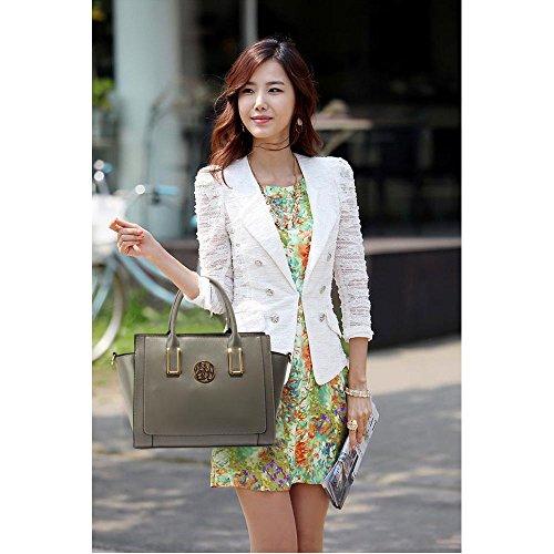 Meine Damen Umhängetaschen Frauen Große Designer Handtaschentoteschulterkunstleder Modische Taschen (A - Schwarz) C - Grau