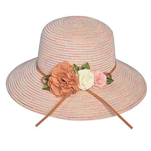 iKulilky Sonnenhut Strohhut Damen Sommer Strandhut mit Breiter Krempe Floppy Packable UV-Schutz Kappe Klapp Reise Blumenkappe Ferien Hut (Blumen-schwimmen-kappe Mädchen Für)