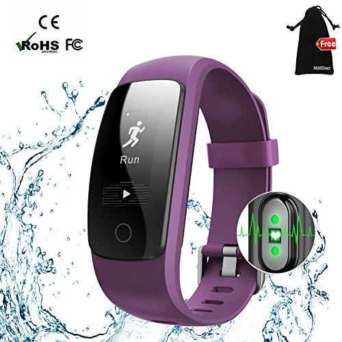 Fitness Tracker,MUXI H6 Herzfrequenz Pulsuhr Fitnessarmband Aktivitätstracker Armband, Schrittzähler Kalorienzähler Gesundheits-Schlaf-Monitor Pedometer Wettervorhersage Call Nachricht Reminder für Android und IOS (USB Anschluss direkt laden) (Purple)