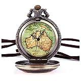 Retro sockenuhr - SODIAL(R) Australien Karte Taschenuhr Analog Quarz Uhr Bronze Kettenuhr Unisex
