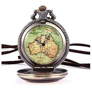 Retro Armbanduhr – SODIAL(R) Australien Karte Taschenuhr Analog Quarz Uhr Bronze Kettenuhr Unisex