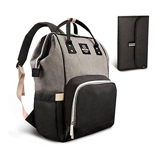 HEYI Baby Wickeltasche Reise Rucksack,Isolierte Tasche, Wasserdicht Stoffe, Multifunktional, Passform für Kinderwage, Große Kapazität Modern Einzigartig Tragbar Handtasche Organizer (Grau-Schwarz)