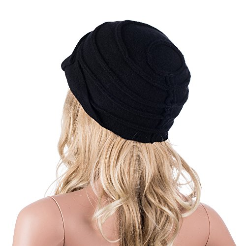 Cappello Da Donna Retro Anni 20 In Stile Gatsby 100 Lana Alla Pescatora Invernale A376 Black Taglia Unica