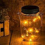 Outdoor Solar Mason Jar Light - Jar Fee Licht, wasserdichte Glasgläser Garten Hängeleuchten , LED-Laternen für Party Baum, Weihnachtsferien , Hochzeitsdekoration , das ganze Jahr im Freien verwenden (Warm Weiß)
