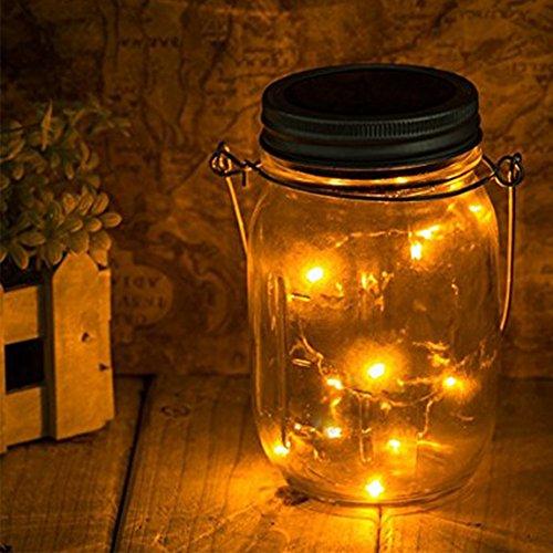 Solarglas Solarlampe mit Akku, Licht im Einmachglas Solarlampe LED Laterne im Marmeladenglas Weckglas mit Seilhenkel und Akku Designlampe, Dekolampe