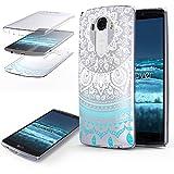 Urcover® 360 Grad Mandala Cover kompatibel mit LG G3 Handy-Hülle Blau RUNDUM-Schutz Ultra Slim Full Body Touch Case Schale Handy-Tasche Crystal Clear Zubehör