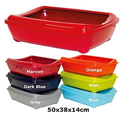 Grey Cat Large Litter Tray With Rim 50x38x14cm 6 Colours Available Quality Box Pan Toilet Loo