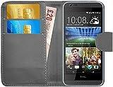 G-Shield Hülle für HTC Desire 620/620g Klapphülle mit Kartenfach - Grau