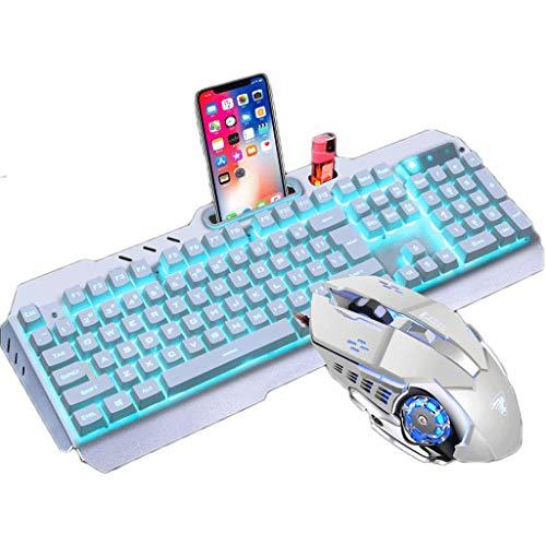 OFNMD Mechanische Maus Tastatur Headset Wired Dreiteiliges Set Desktop E-Sport Spiel Alloy Blendung, QWERTY Tastatur (Farbe : Silver White Ice Blue Light)