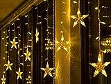BLOOMWIN LED Luce Stella, 3.5m Striscia di Natale 8 Modalità 120LED 13 Stelle LED della Tenda di Finestra Luci Ghiacciolo per Natale Albero Festa Nozze
