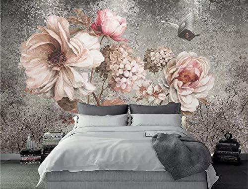 Fototapete 3D Effekt Tapete Nordische Blume Vliestapete 3D Wallpaper Moderne Wanddeko Wandbilder -