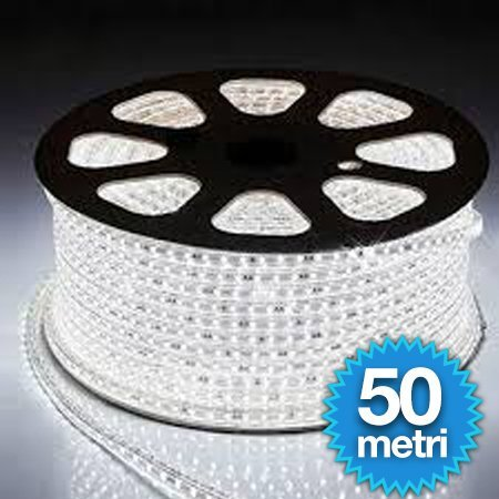 STRISCIA LED FLESSIBILE STRIP LED 5050 INTERNO ED ESTERNO 220V BOBINA DA 50 METRI