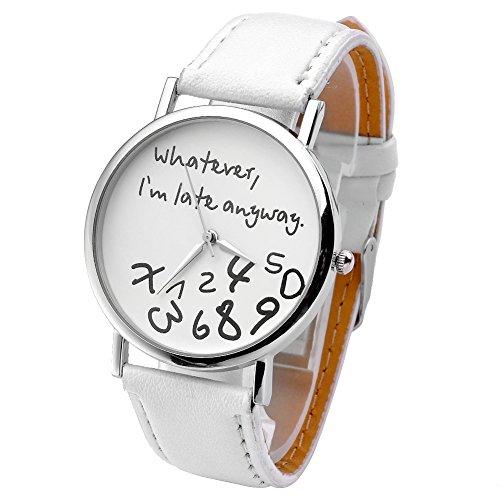JSDDE Uhren,Vintage Damenmode ?Whatever, I'm late anyway? Graviert Illusion Damenuhr Quarzuhr Armbanduhr(Weiss)