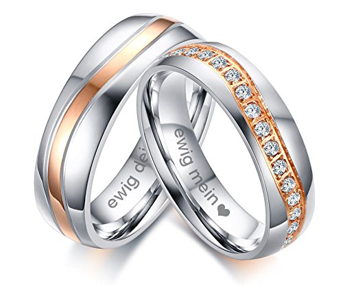 Vnox 2 Stück Edelstahl Ewig Mein Ewig Dein Name Datum Personalisierte Zirkonia Hochzeit Verlobungsringe für Paare Valentinstag Geschenk