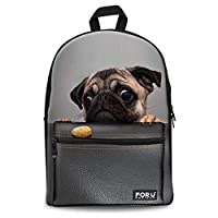 chaqlin Cute Animal Pet Backpack Canvas School Bag for Boys Girls Teens