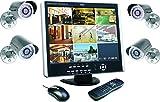 Elro DVR151S - Impianto di videosorveglianza a 8 canali, con schermo 38 cm,  registratore digitale, hard-disk da 1 Tb e 4 telecamere CCD esterne incluse