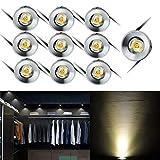 Elitlife Mini LED Einbaustrahler 10X 1W mit Trafo Stecksystem Einbauspot Deckenspots Einbauleuchten Einbaurahmen (Warmweiß rund) [Energieklasse A+++]