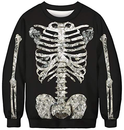 Ocean Plus Herren Digitaldruck Pulli Creww Neck Halloween Thema Sweatshirt Weihnachten Unisex Langarm Pullover (M (Brustumfang: 108cm), Diamant Skelett)