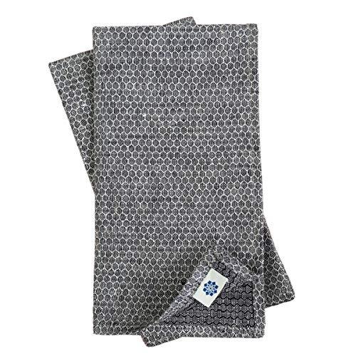 Linen & Cotton 4 x Luxus Stoffservietten HONEYCOMB, 100% Leinen - 47 x 47cm (Schwarz/Beige/Grau)
