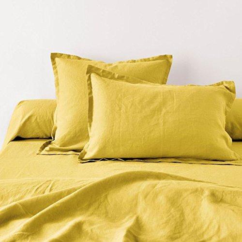 Home Inspiration Taie d'oreiller avec Volant Lin Coton Moutarde 65 x 65 cm