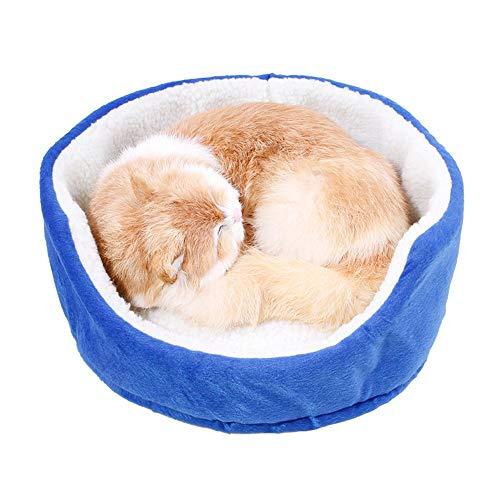 Rundes Haustierbett Haustier-Katze-Hundebett-Matte Sofa-Baumwollweiche Warme Feste Welpen-Kätzchen-Decke Kissen-Korb-Bettwäsche Haustier-Versorgungsmaterialien Vier Jahreszeiten Universell,Blau,S -