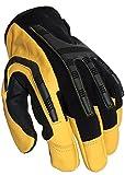 Guantes de trabajo de piel resistentes, impermeables y cómodos, para uso industrial y mecánico, amarillo