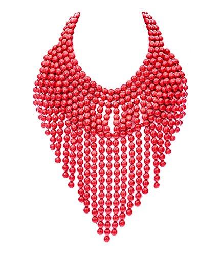 Schmuckanthony Ethno Boho Chic Halskette Collier Kette Drapiert Metall Perlen Rot lackiert (Drapierte Hals)