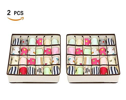 Joyoldelf 2 Stück Aufbewahrungsboxen für Unterwäsche und andere kleine Zubehörteile ,24 Zellen Faltbare Schubladenunterteilungen zum Aufbewahren von Socken,Schals,Büstenhalter(Beige)