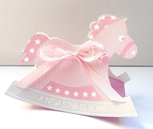 10 Stück Bastelset Gastgeschenke Schaukelpferd Rosa Taufe Geburt Shower Mädchen