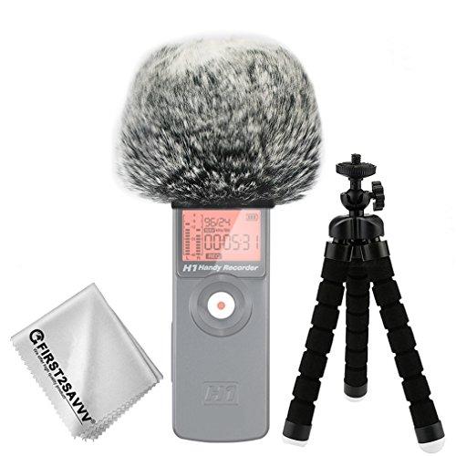 First2savvv nero Microfono Parabrezza Copertura Antivento Shell Cuffia Antivento in Pelliccia Sintetica per Microfoni a Fucile per Zoom H1 con pezza per pulire + Mini treppiede TM-DM-H1-E01TZ3