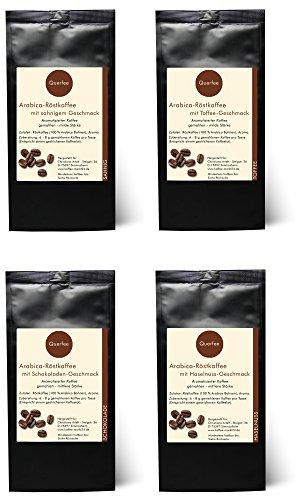 4 x Kaffee mit Geschmack Geschenkset - Sahne, Toffee, Schokolade, Haselnuss - Arabica Röstkaffee...