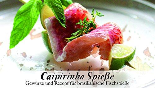Caipirinha Spieße - 8 Gewürze Set für die brasilianischen Fischspieße (65g) - in einem schönen Holzkästchen - mit Rezept und Einkaufsliste - Geschenkidee für Feinschmecker von Feuer & Glas 8 Spieße
