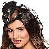 Fancy Me Damen Steampunk Mini Hut Haarband mit Schleier Kostüm Zubehör Karneval Viktorianisch Erfinder Wilder Westen