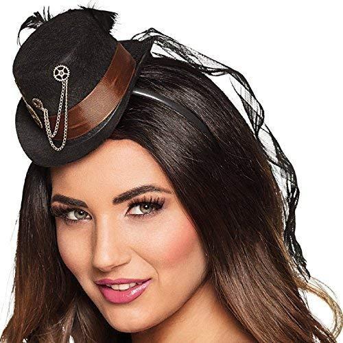 punk Mini Hut Haarband mit Schleier Kostüm Zubehör Karneval Viktorianisch Erfinder Wilder Westen ()