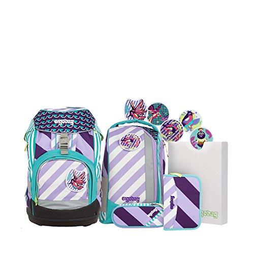 ERGOBAG Pack Set Stripes Schulranzen-Set, 35 cm, 20 L, Mutige Mädchen lila Streifen