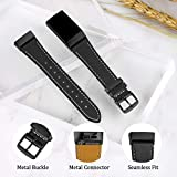 Mornex Strap Compatible Fitbit Charge 3 Strap/Charge 3 SE Leather Strap, Classic Adjustable Replacement Wristband Fitness Accessories Metal Connectorss, Black-Black