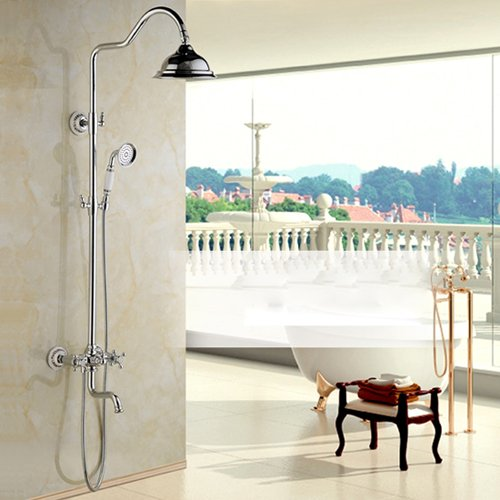 Luxurious shower An der Wand montierte Beste Qualität Dusche Wasserhahn Dual Griff Niederschlag in der Wand Dusche im Freien Spalte + Whirlpool Füller + Handbrause, Chrom
