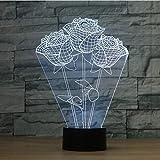 sanzangtang LED Nachtlicht 3D-Vision-Seven Colors-Fernbedienung-Red Rose Flower Nachtlicht Vision Nachtlicht Creative Lava Table Lamp Neuheit Beleuchtung Badezimmer LichtWiegenlied Nachtlicht